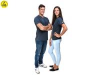 ESD T-Shirt Premium grau V-Ausschnitt