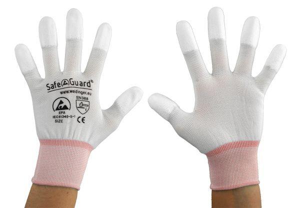 ESD Handschuh, weiß, Fingerkuppen beschichtet