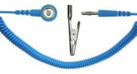 Spiralkabel hellblau, 1 MOhm, 2,4m Bananenstecker