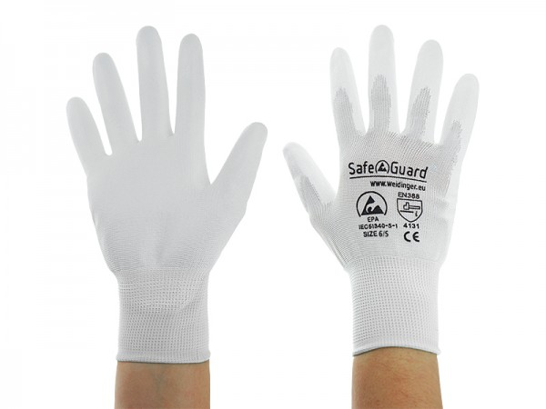 ESD Handschuh, weiß, Innenhand beschichtet