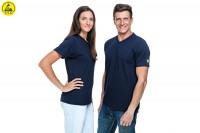 ESD T-Shirt Premium marine V-Ausschnitt