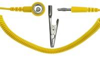 Spiralkabel gelb, 1 MOhm, 2,4m Bananenstecker
